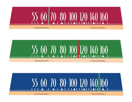 wijzerplaat: vintage radio wijzerplaten in vector-modus Stock Illustratie