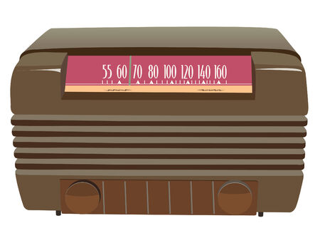 brown vintage radio in vector mode Vector