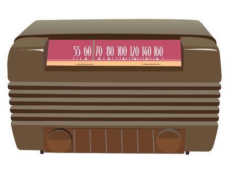 brown vintage radio in vector mode