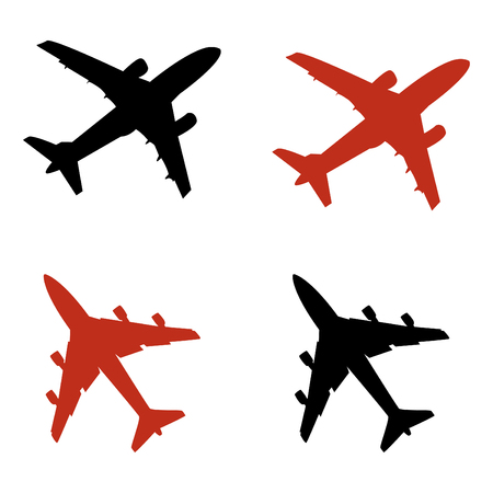 vliegtuig pictogrammen in vector-modus Stock Illustratie