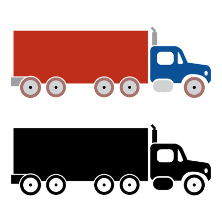 pickup: truck cargo icons on vector mode