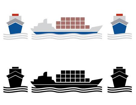 dos buques de carga y los iconos en colores b / w Ilustración de vector
