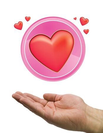 hand and red heart in circle with white background photo