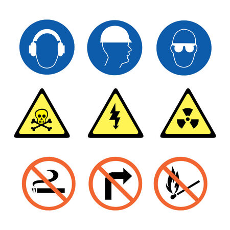 Security Signs in blue yellow and red Vector