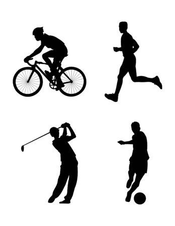 voetbal silhouet: vier sportieve silhouet in vector-modus Stock Illustratie
