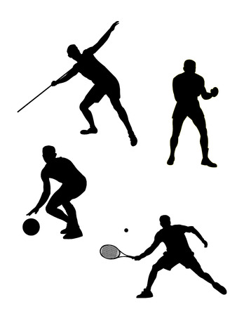 four sports silhouette in vector mode Vector
