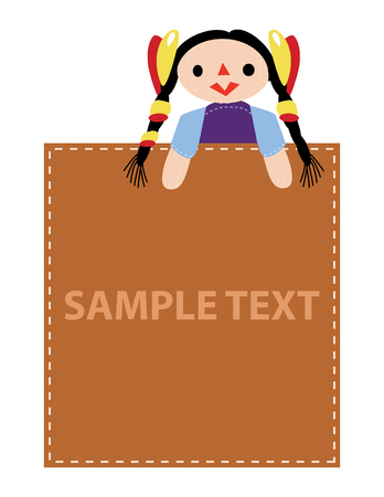 girl hold advertise sample text, vector mode Vector