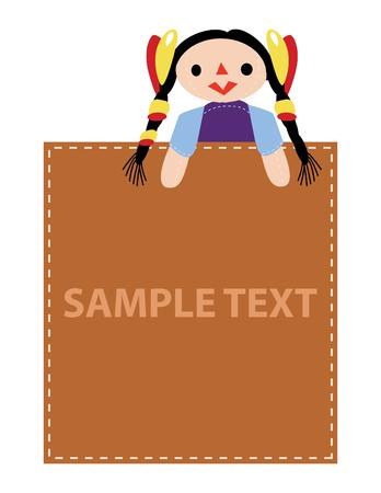 advertise: girl hold advertise sample text, vector mode Illustration