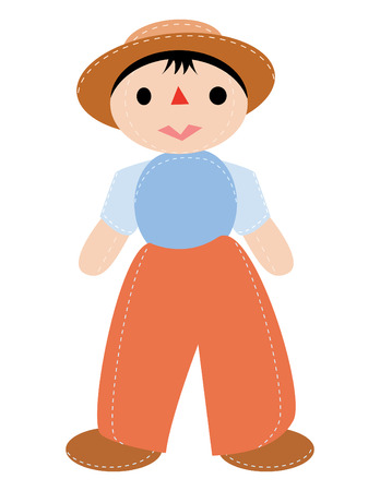 fashion story: doll boy with hat in vector mode