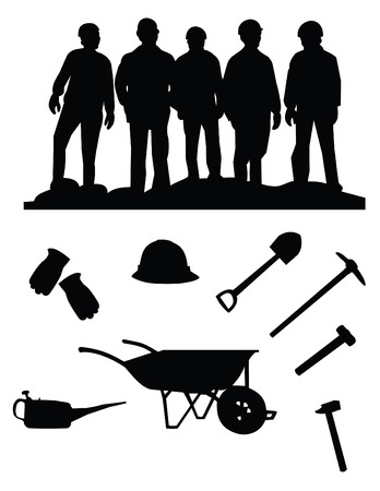 silhouette of five miners and stuff