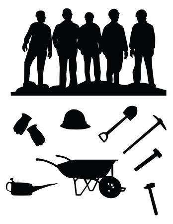 mineros: silueta de cinco mineros y cosas Vectores
