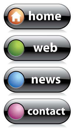 black web buttons, home, web, news, contact Stock Vector - 4771429