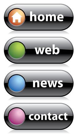 black web buttons, home, web, news, contact Stock Vector - 4771429
