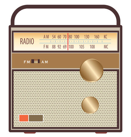 listen music: vintage radio in brown and gold colors
