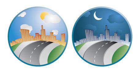 dia y noche: ciudad dos d�as en la noche iconos vectoriales