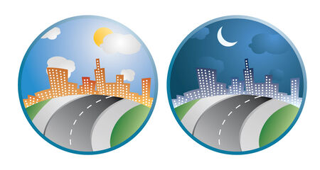 two city day night icons in vector Vector