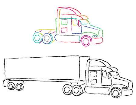 haul: truck in coor outlines, vector mode