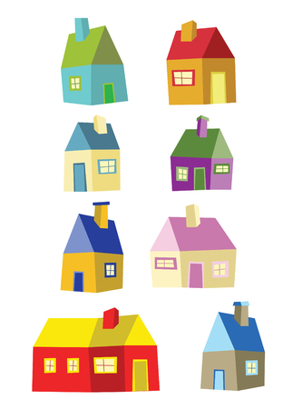 houses exterior: color fun houses in cool colors Illustration