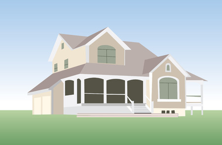 luxury home exterior: house in vector mode for edit