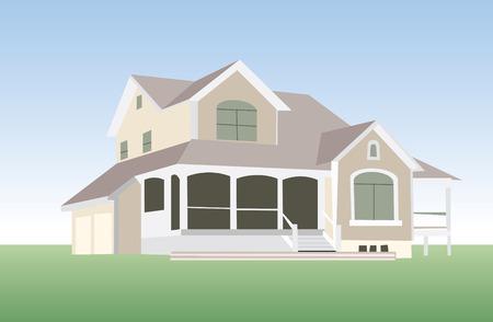 huis in vector mode voor bewerken Stock Illustratie