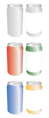 cold pack: set of color cans in vector mode