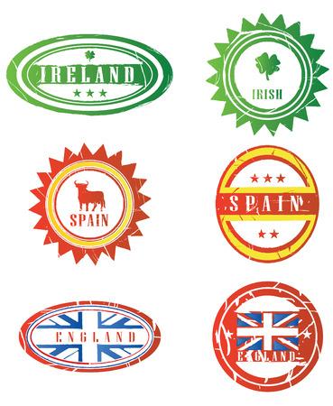 european rubber stamps in vector Vector