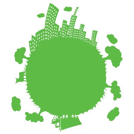green earth silhouette in vector mode Stock Vector - 5039363