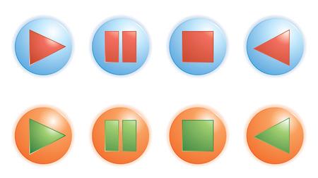 play pause, botones de parada de vectores Ilustración de vector