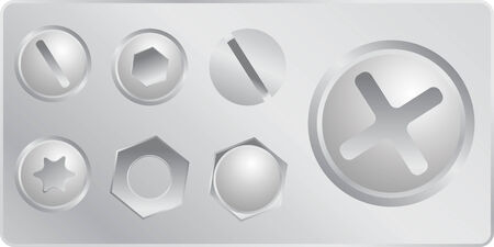 silver screws set in vector mode Vector