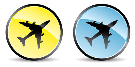 set of two airplane icon in colors Vector