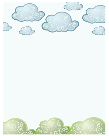clouds and grass back for babies Vector