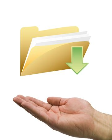 checklist: hand and download yellow folder Stock Photo