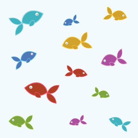 underwater fishes: fish tile many colors in vector mode
