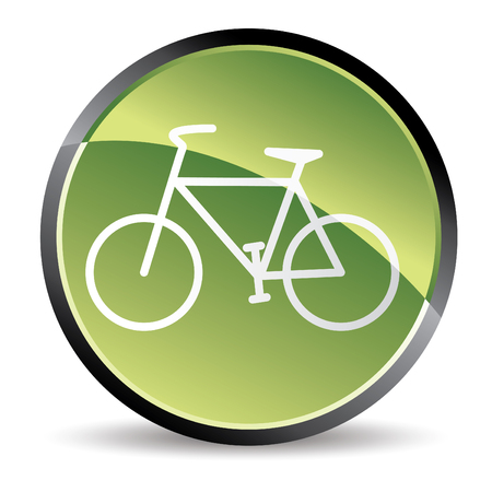 road cycling: green bike icon in vector mode Illustration