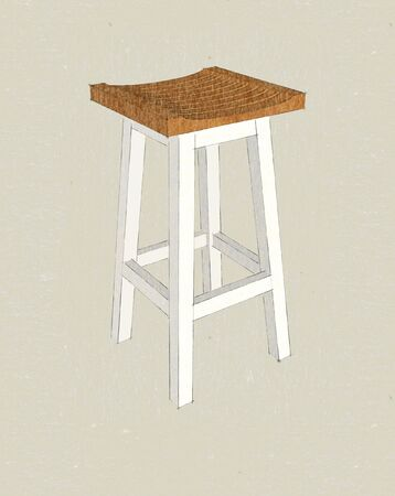 bar stool in wood and white color photo