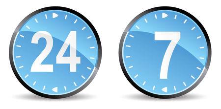 horas: 24 horas 7 d�as de soporte iconos Vectores