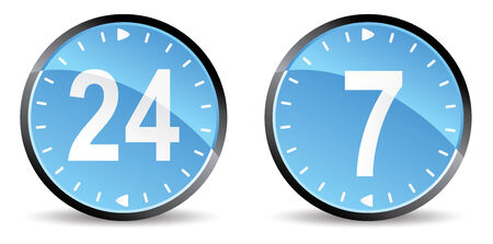24 hours 7 days support  icons Vector