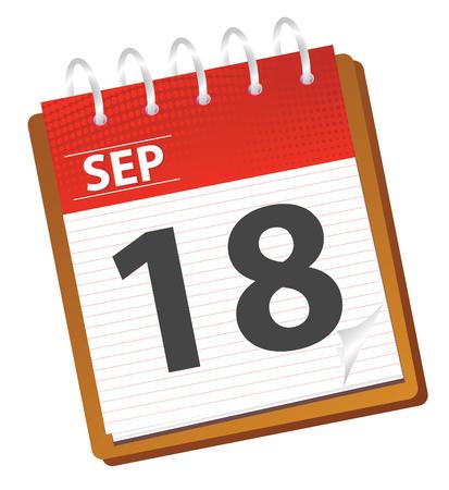 almanak: kalender van september in rode tinten