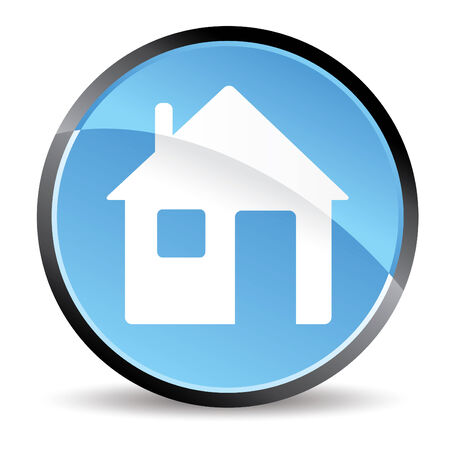 blue home icon in vector