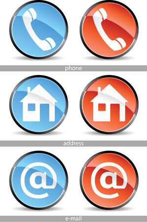 set of web contact buttons in red and blue Vectores