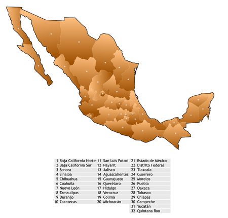 mexiko karte: Mexiko-Karte mit Namen von Staaten Illustration