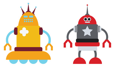 space antenna: vintage couple of robots in vector mode Illustration