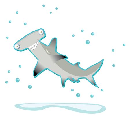 shark hammer cartoon in vector Stock Vector - 5558347
