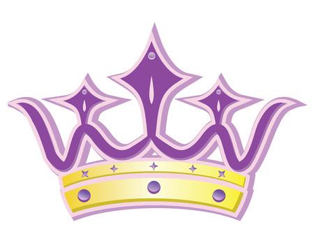 pink queen crown in vector mode Illustration
