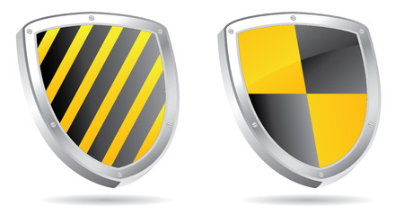 set of shields 3d for edit Vector