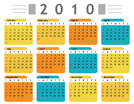 calendar: calendar 2010 english in vector mode Illustration