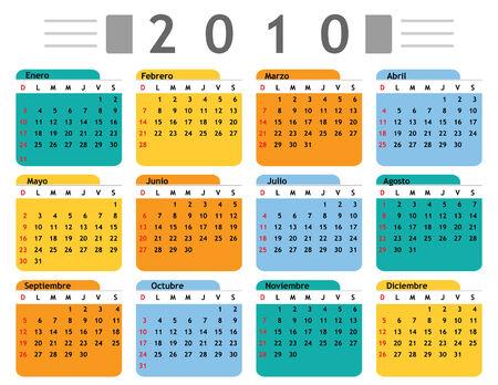 calendar 2010 spanish in vector mode Vector