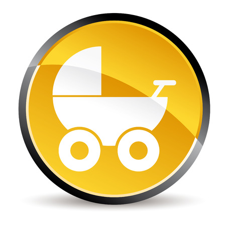 baby and mother: baby stroller Illustration