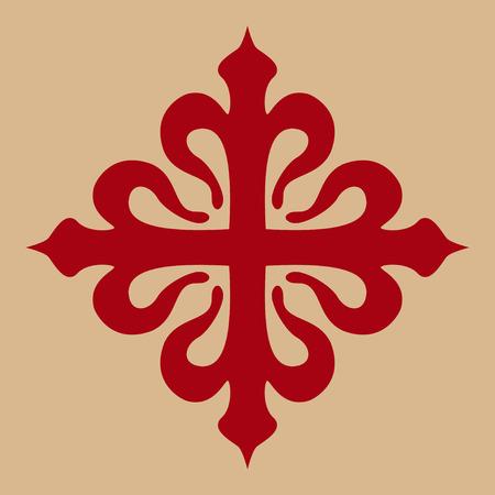 religious symbols: calatravas spanish cross in red Illustration