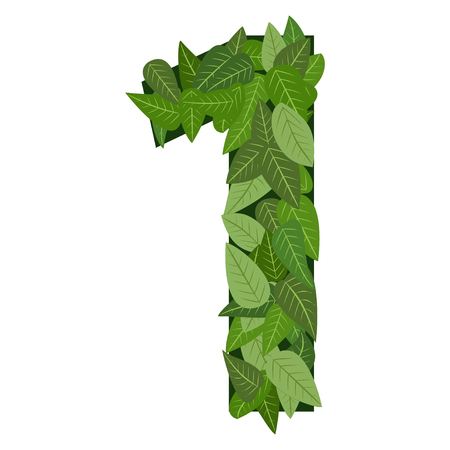 number one with green leafs 일러스트